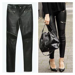 Zara Trafaluc Faux leather moto leggings/pants